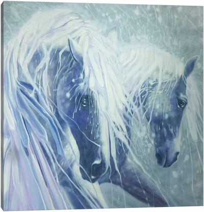 Ice Horses, Square Canvas Art Print