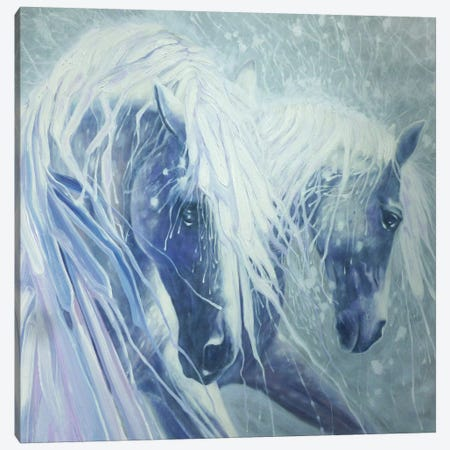 Ice Horses, Square Canvas Print #GBU17} by Gill Bustamante Art Print