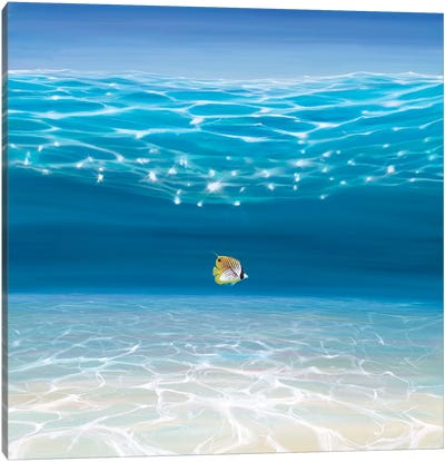 Solo In The Turquoise Sea Canvas Art Print