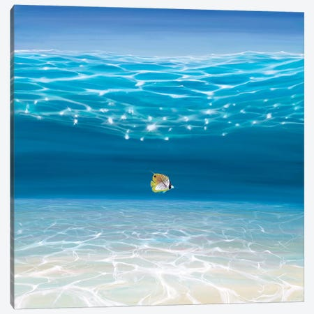 Solo In The Turquoise Sea Canvas Print #GBU37} by Gill Bustamante Art Print
