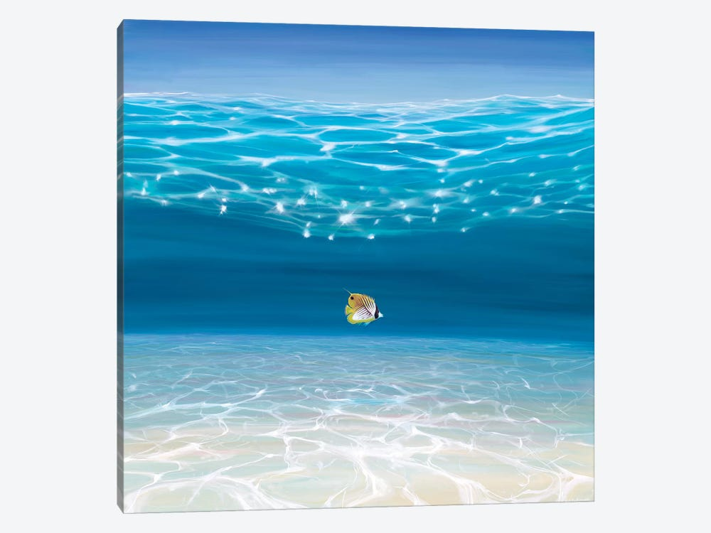 Solo In The Turquoise Sea by Gill Bustamante 1-piece Canvas Wall Art