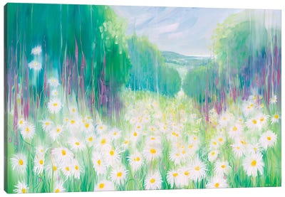 Through The Daisies To The Sea Canvas Art Print