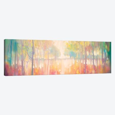 Autumn Calls, Panoramic Wide Canvas Of Lake Through Autumn Trees Canvas Print #GBU91} by Gill Bustamante Canvas Art