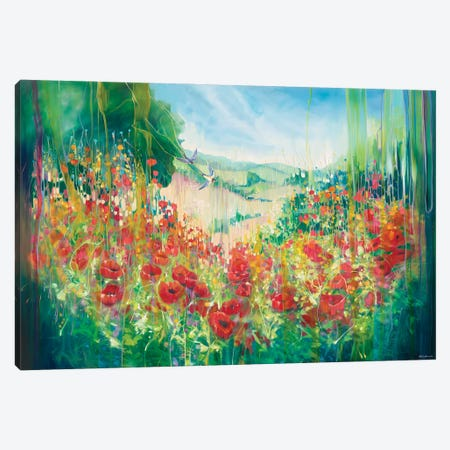 Nature Unleashed, An English Landscape With Poppies And Swallow Canvas Print #GBU93} by Gill Bustamante Canvas Artwork