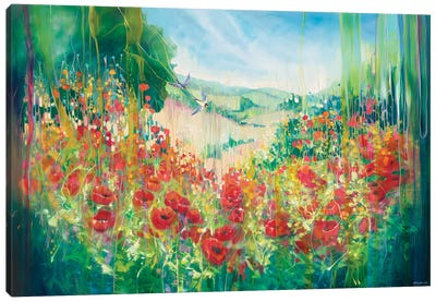 Nature Unleashed, An English Landscape With Poppies And Swallow Canvas Art Print
