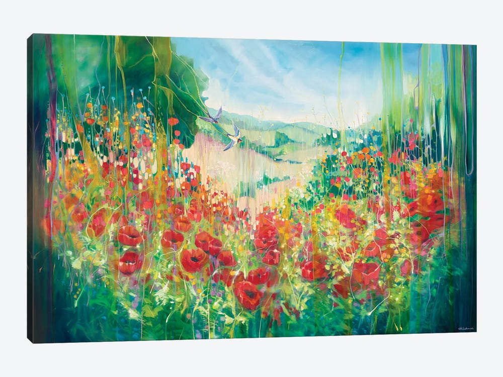 Nature Unleashed, An English Landscape With Poppies And Swallow by Gill Bustamante 1-piece Canvas Wall Art