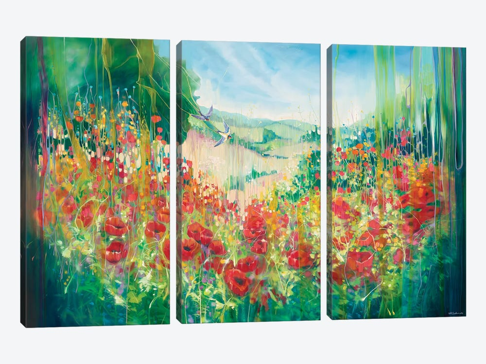 Nature Unleashed, An English Landscape With Poppies And Swallow by Gill Bustamante 3-piece Canvas Artwork