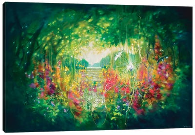 Song Of August, A Green Secret Garden With Lakes, Trees And White Egrets Canvas Art Print