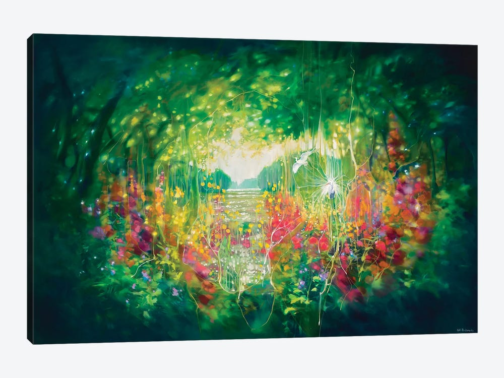 Song Of August, A Green Secret Garden With Lakes, Trees And White Egrets by Gill Bustamante 1-piece Art Print