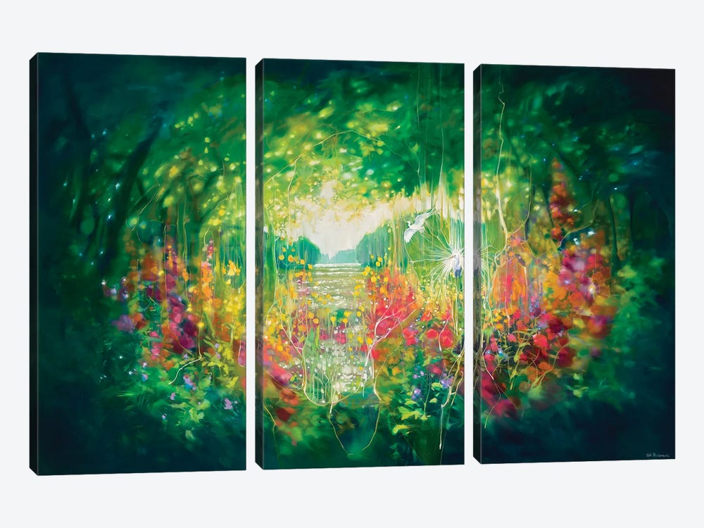 Song Of August, A Green Secret Garden With Lakes, Trees And White Egrets by Gill Bustamante 3-piece Canvas Print