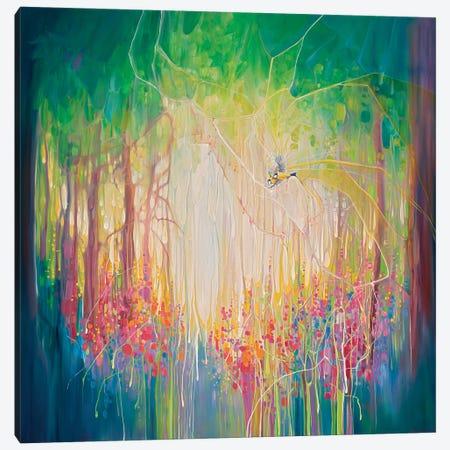 Woodland Portal, An English Bluebell Wood With Blue Tit Birds Canvas Print #GBU95} by Gill Bustamante Art Print