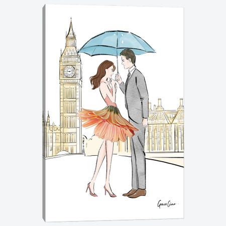 Lovers In London Canvas Print #GCC14} by Grace Ciao Canvas Artwork