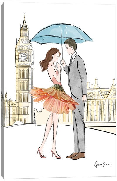 Lovers In London Canvas Art Print