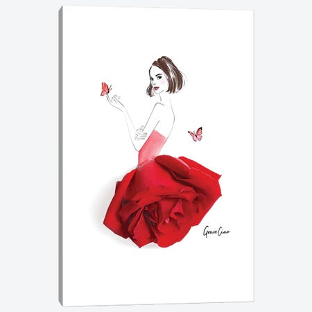 Dressed in Rose Canvas Print #GCC8} by Grace Ciao Canvas Art