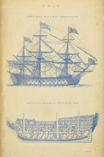 Vintage ship blueprint canvas art by george chambers icanvas canvas malvernweather Choice Image