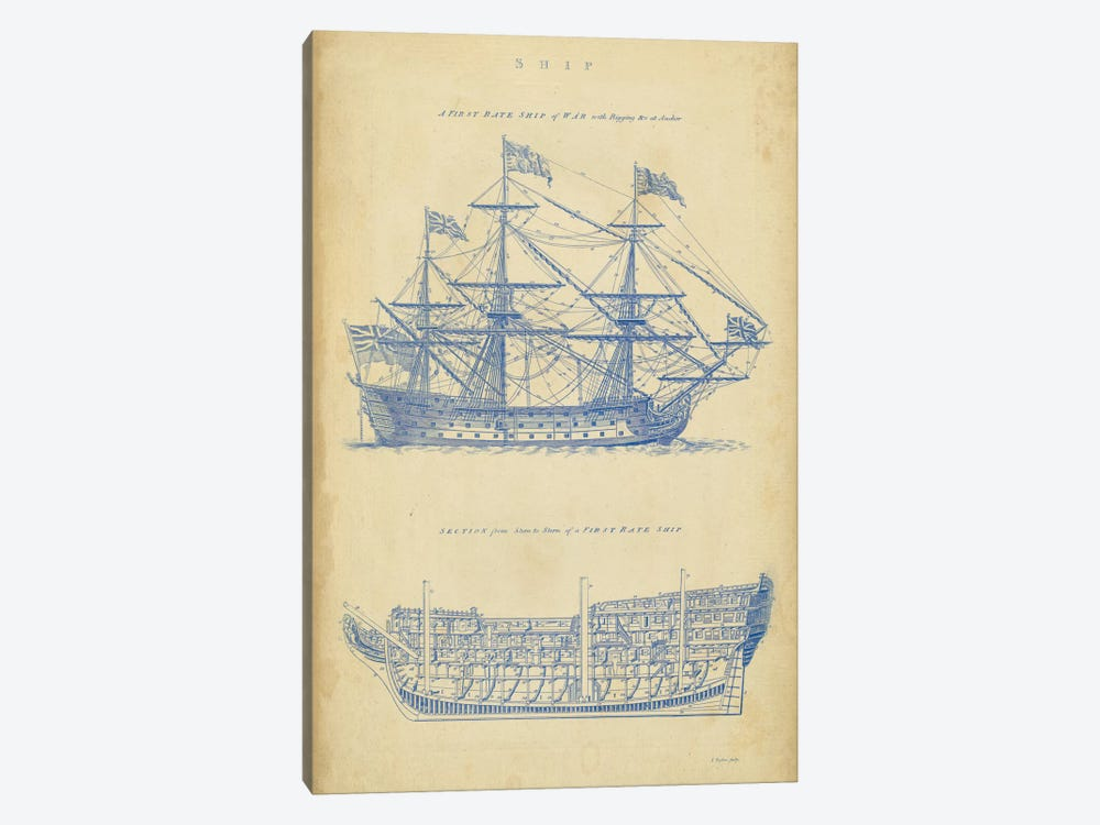 Vintage Ship Blueprint by George Chambers 1-piece Canvas Artwork