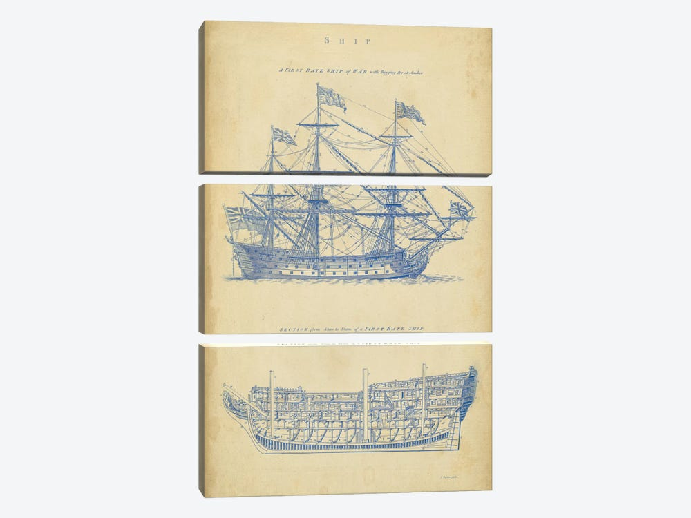 Vintage Ship Blueprint by George Chambers 3-piece Canvas Art