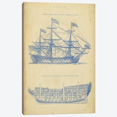 Vintage Ship Blueprint Canvas Print #GCH1} by George Chambers Canvas Art Print