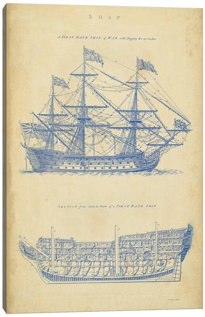 Vintage Ship Blueprint Canvas Art Print