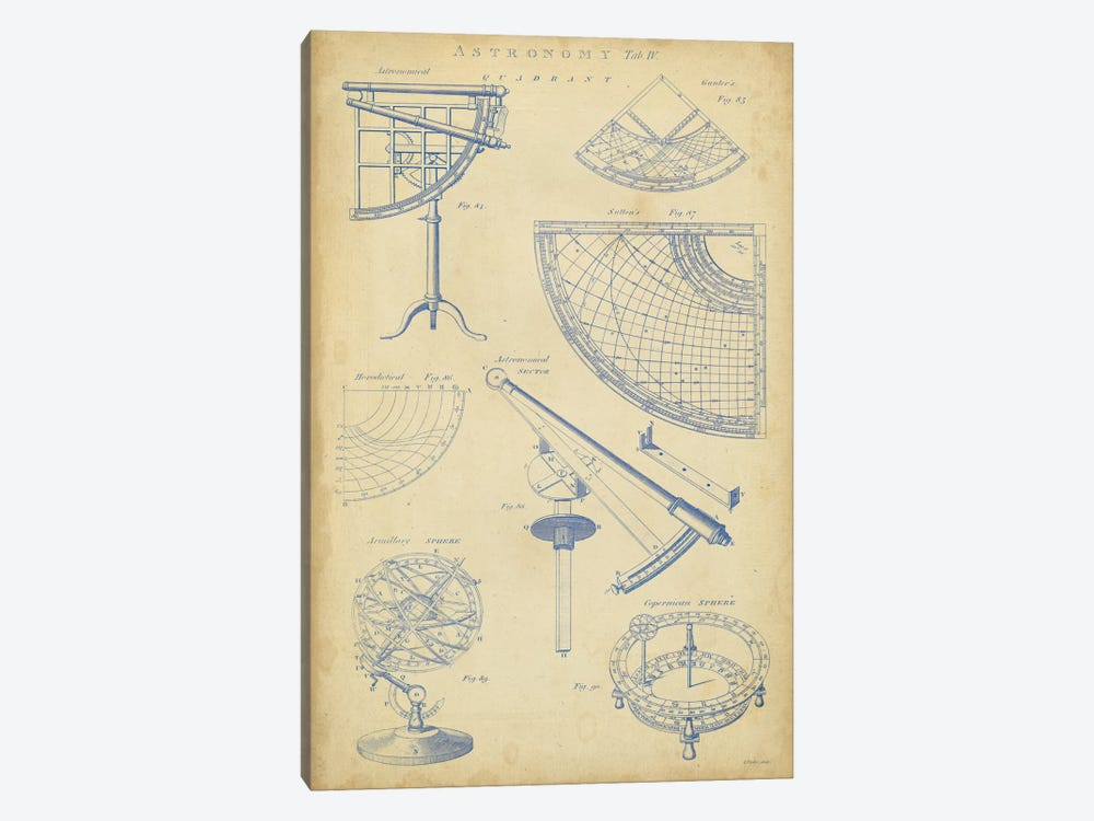 Vintage Astronomy I by George Chambers 1-piece Canvas Art Print
