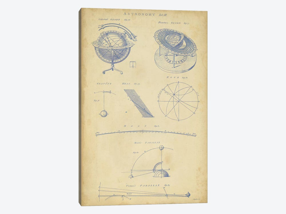 Vintage Astronomy III by George Chambers 1-piece Canvas Art Print