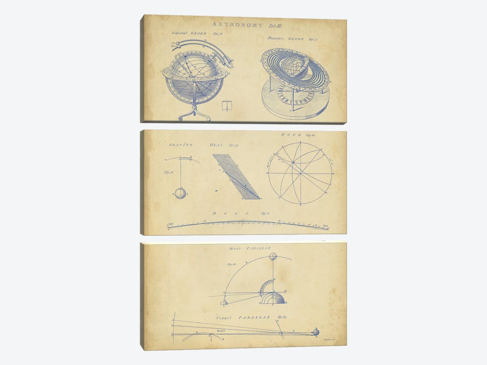 Vintage Astronomy III by George Chambers 3-piece Canvas Print