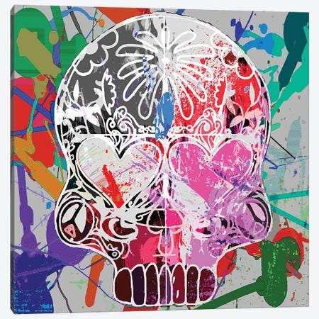Love Skull Canvas Print #GCZ42} by Gabriel Cozzarelli Art Print