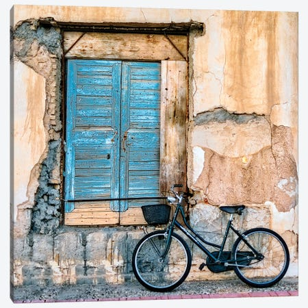 Old Window And Bicycle Canvas Print #GDI2} by George Digalakis Canvas Art Print