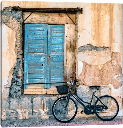 Old Window And Bicycle Canvas Art Print