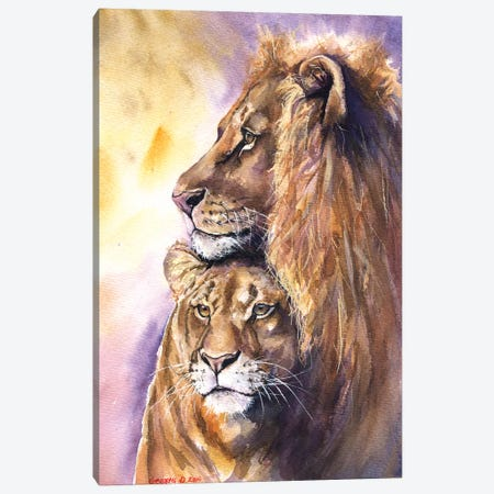 Lion Family Canvas Print #GDY103} by George Dyachenko Art Print
