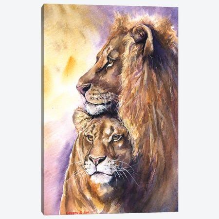Lion Family Canvas Print #GDY103} by George Dyachenko Art Print
