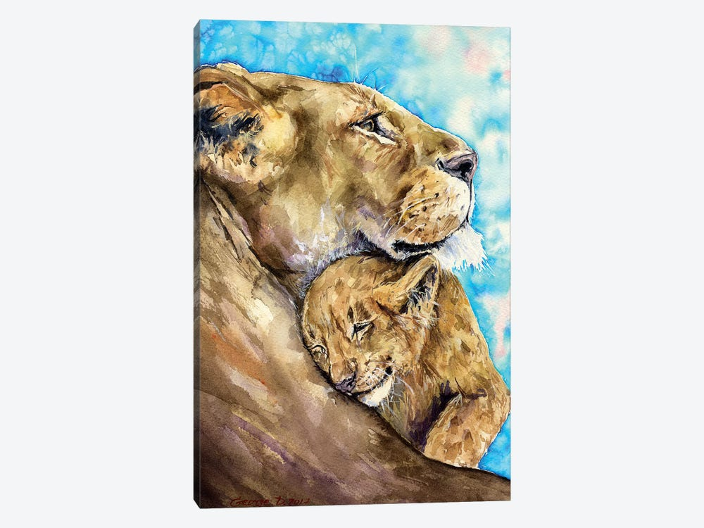 Lion Family Love by George Dyachenko 1-piece Art Print