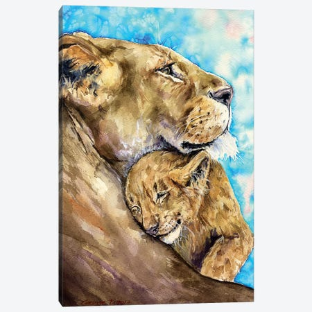 Lion Family Love Canvas Print #GDY104} by George Dyachenko Canvas Artwork