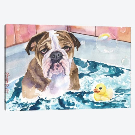 Bath Time Canvas Print #GDY10} by George Dyachenko Canvas Art