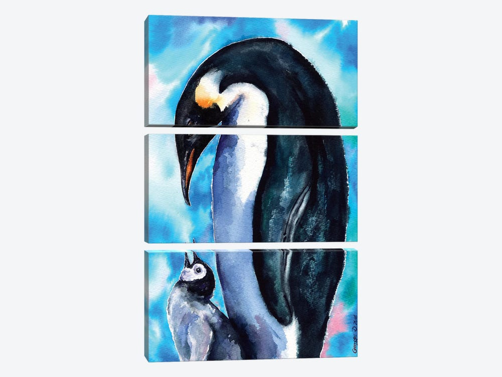 Penguin Family by George Dyachenko 3-piece Canvas Print