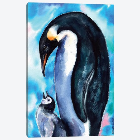 Penguin Family 3-Piece Canvas #GDY115} by George Dyachenko Canvas Print