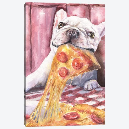 Pizza And French Bulldog Canvas Print #GDY118} by George Dyachenko Canvas Art