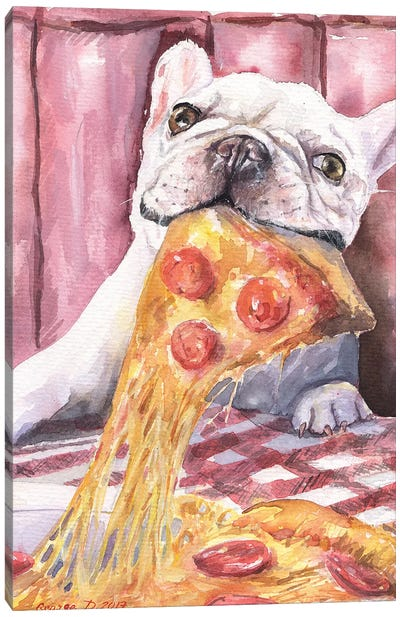 Pizza And French Bulldog Canvas Art Print