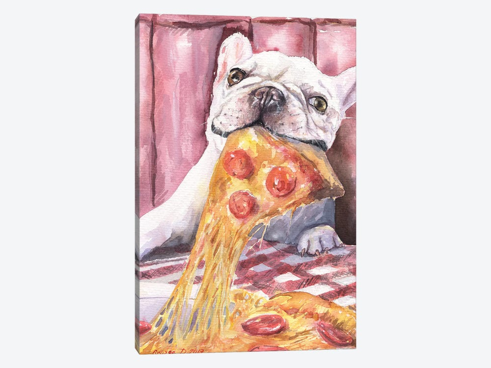 Pizza And French Bulldog by George Dyachenko 1-piece Canvas Wall Art