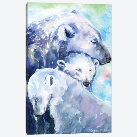 Polar Bears Family I Canvas Print #GDY119} by George Dyachenko Canvas Artwork