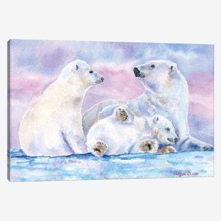 Polar Bears Family II Canvas Print #GDY120} by George Dyachenko Art Print