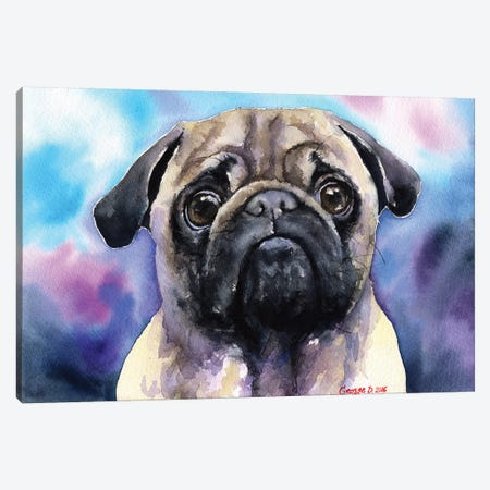 Pug Canvas Print #GDY121} by George Dyachenko Art Print