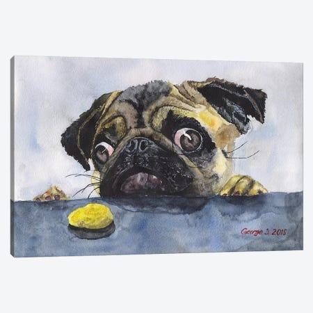Pug And Cookie Canvas Print #GDY122} by George Dyachenko Art Print