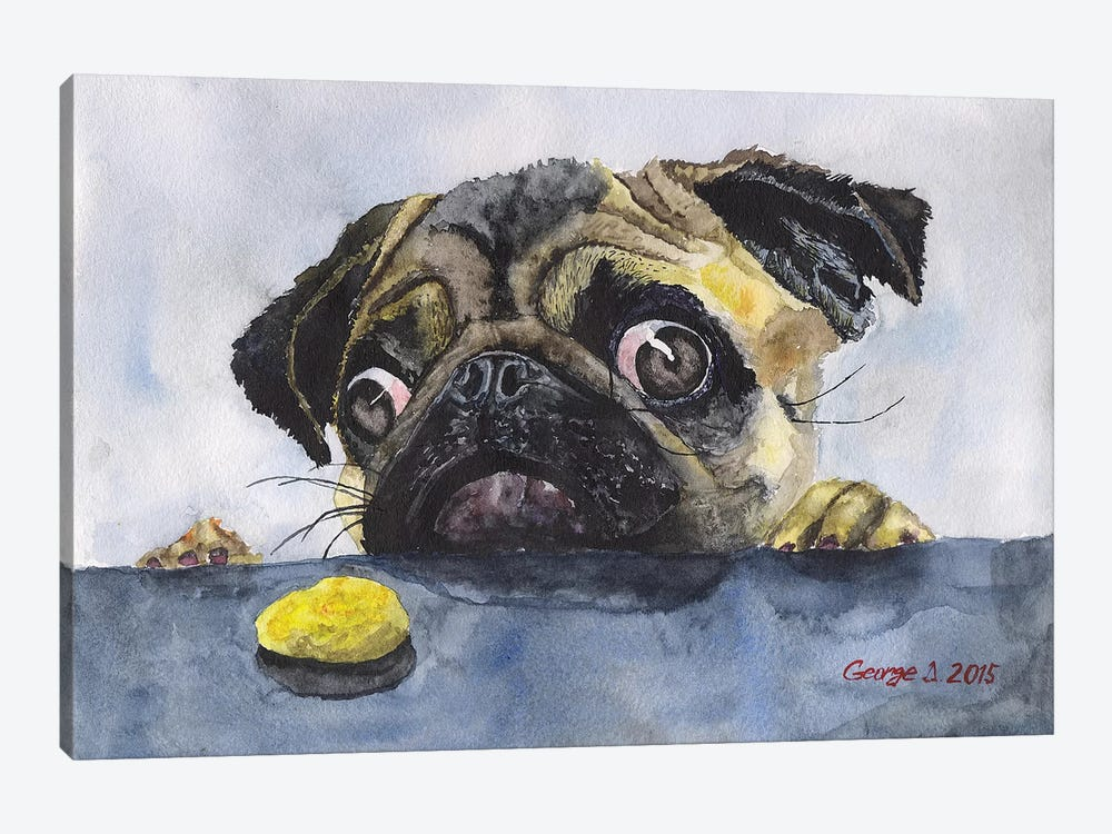 Pug And Cookie by George Dyachenko 1-piece Canvas Print