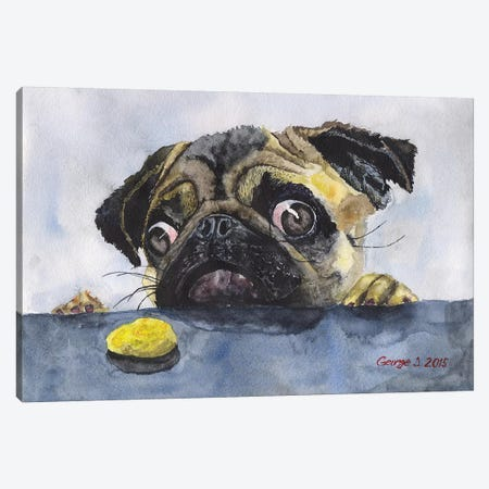 Pug And Cookie Canvas Print #GDY122} by George Dyachenko Art Print