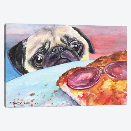 Pug And Pizza I Canvas Print #GDY123} by George Dyachenko Canvas Print