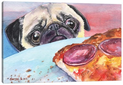 Pug And Pizza I Canvas Art Print