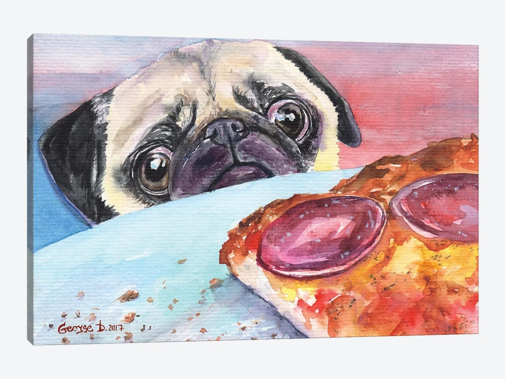 Pug And Pizza I by George Dyachenko 1-piece Canvas Artwork
