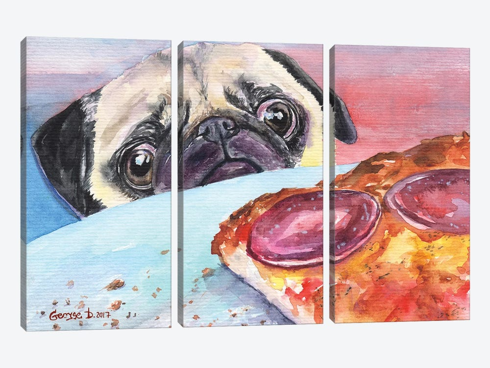 Pug And Pizza I by George Dyachenko 3-piece Canvas Artwork