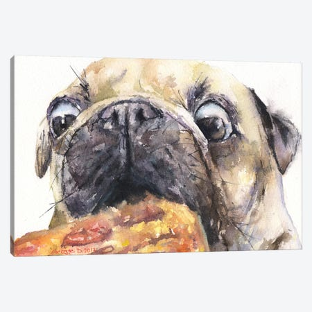 Pug And Pizza IV Canvas Print #GDY124} by George Dyachenko Canvas Art